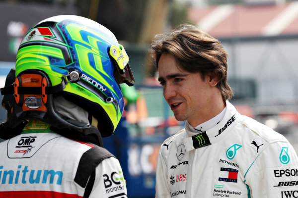Esteban Gutierrez (MEX) talks with Benito Guerra (MEX)