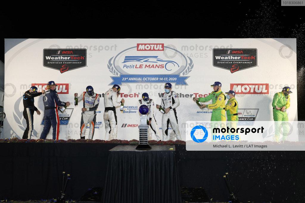 #8 Tower Motorsport by Starworks ORECA LMP2 07, LMP2: John Farano, Mikkel Jensen, Job van Uitert, podium, #38 Performance Tech Motorsports ORECA LMP2 07, LMP2: Colin Braun, Matt Bell, James McGuire, #51 Inter Europol Competition ORECA LMP2 07, LMP2: Austin McCusker, Jakub Smiechowski, Rob Hodes, champagne