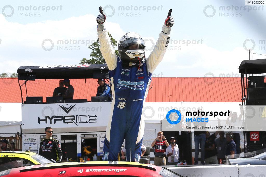 #16: A.J. Allmendinger, Kaulig Racing, Chevrolet Camaro RAMCO Specialties Inc celebrates his win