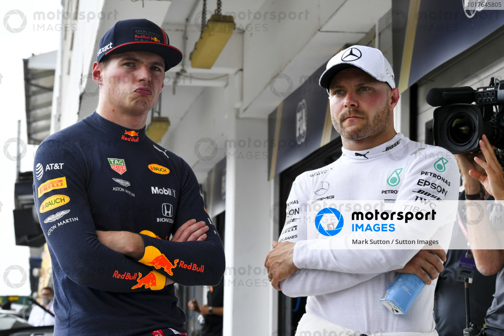 Front row starters Max Verstappen, Red Bull Racing, and Valtteri Bottas, Mercedes AMG F1
