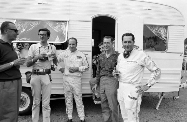 Denny Hulme and Jack Brabham at a sponsorship event.