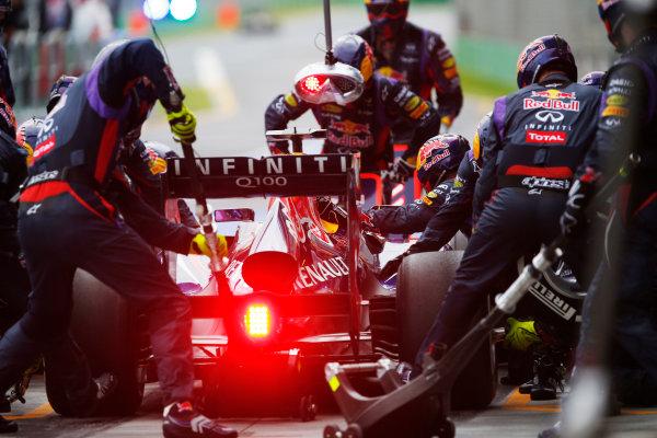 Albert Park, Melbourne, Australia Sunday 17th March 2013 Sebastian Vettel, Red Bull RB9 Renault, in the pits. World Copyright: Steven Tee/  ref: Digital Image _L0U2288