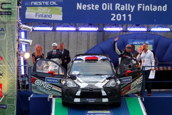 Round 8, Rally Finland, 28th - 30th July 2011Kimi Raikkonen, Kaj Lindstrom, Citroen, PodiumWorldwide Copyright: LAT/McKlein