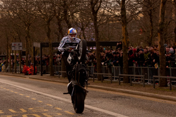 Milton Keynes.  Saturday 10th December 2011.Chris Pfeiffer, stunt bike rider shows of his tricks to the crowd. Photo: Alastair Staley/LAT Photographic.Ref: Digital Image _O9T5211 jpg