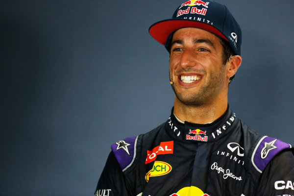 Marina Bay Circuit, Singapore. Saturday 19 September 2015. Daniel Ricciardo, Red Bull Racing, in the post Qualifying Press Conference. World Copyright: Alastair Staley/LAT Photographic. ref: Digital Image _79P2332