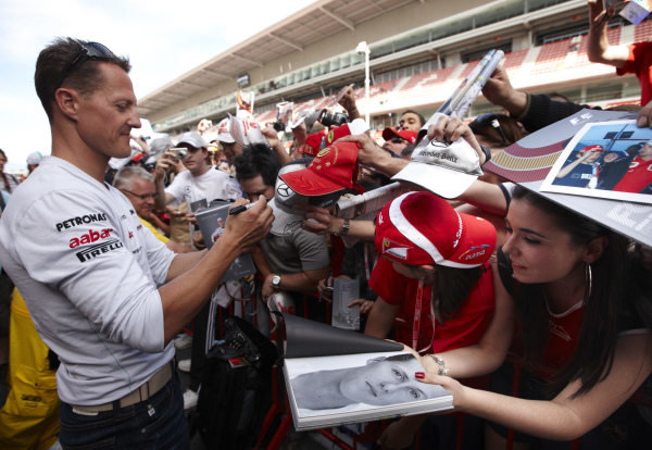 Circuit de Catalunya, Barcelona, Spain 19th May 2011 Michael Schumacher, Mercedes GP W02, signs autographs for fans. Portrait. Atmosphere.  World Copyright: Steve Etherington/LAT Photographic ref: Digital Image SNE23856