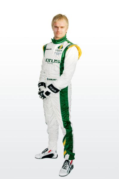 February 2010.Heikki Kovalainen, Lotus T127 Cosworth. Portrait.Photo: Copyright Free - Lotus F1ref: Digital Image Heikki Kovalainen Overalls 1