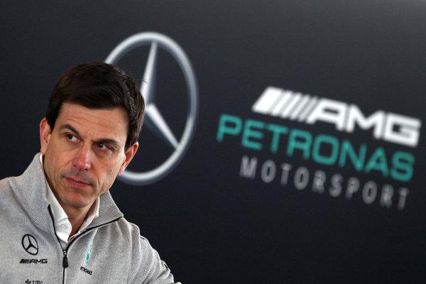 Mercedes F1 W08 Formula 1 Launch. Silverstone, Northampton, UK. Thursday 23 February 2017. Toto Wolff  World Copyright: Hoyer/Ebrey/LAT Images Ref: MDH38857
