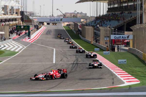 2017 FIA Formula 2 Round 1. Bahrain International Circuit, Sakhir, Bahrain.  Sunday 16 April 2017. Antonio Fuoco (ITA, PREMA Racing), Stefano Coletti (MON, Campos Racing)  Photo: Zak Mauger/FIA Formula 2. ref: Digital Image _56I1906
