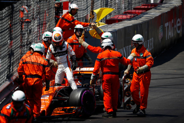Monte Carlo, Monaco. Saturday 27 May 2017. Stoffel Vandoorne, McLaren MCL32 Honda, climbs from his broken car after crashing. World Copyright: Glenn Dunbar/LAT Images ref: Digital Image _31I9438