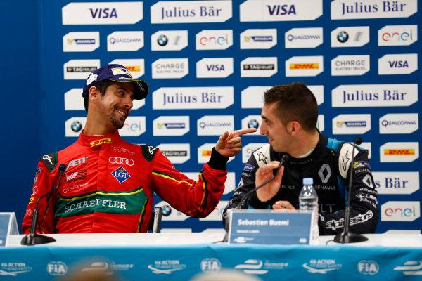 2016/2017 FIA Formula E Championship. Monte-Carlo, Monaco Saturday 13 May 2017. Lucas Di Grassi (BRA), ABT Schaeffler Audi Sport, Spark-Abt Sportsline, ABT Schaeffler FE02, and Sebastien Buemi (SUI), Renault e.Dams, Spark-Renault, Renault Z.E 16, in the Press Conference. Photo: Sam Bloxham/LAT/Formula E ref: Digital Image _W6I6886