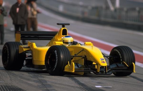 Giancarlo Fisichella (ITA) ran an unbranded Jordan EJ12. Formula One Testing, Barcelona, Spain, 27-31 January 2002.