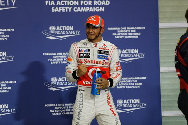 Yas Marina Circuit, Abu Dhabi, United Arab Emirates Saturday 3rd November 2012. Top qualifier Lewis Hamilton, McLaren.  World Copyright:Andrew Ferraro/  ref: Digital Image _79P2879