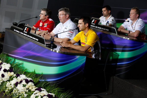 Yas Marina Circuit, Abu Dhabi, United Arab Emirates Friday 2nd November 2012. Pat Fry, Director of Chassis, Scuderia Ferrari, Ross Brawn, Team Principal, Mercedes AMG F1, Remi Taffin, Head of Track Operations, Renault Sport F1, Tony Cuquerella, Team Principal, HRT, and Andrew Green, Technical Director, Force India, in the Press Conference.  World Copyright:Charles Coates/  ref: Digital Image _N7T1376