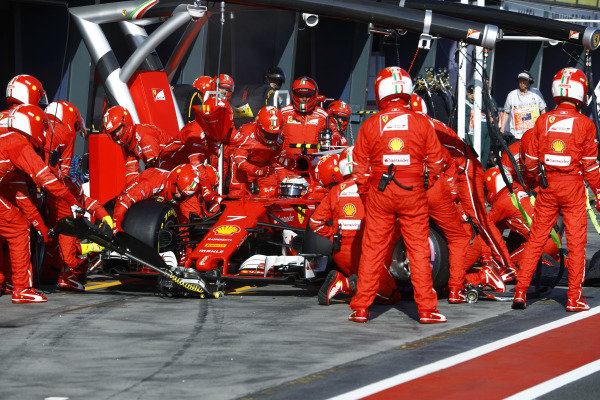 Kimi Raikkonen (FIN) Ferrari SF70-H pit stop at Formula One World Championship, Rd1, Australian Grand Prix, Race, Albert Park, Melbourne, Australia, Sunday 26 March 2017.