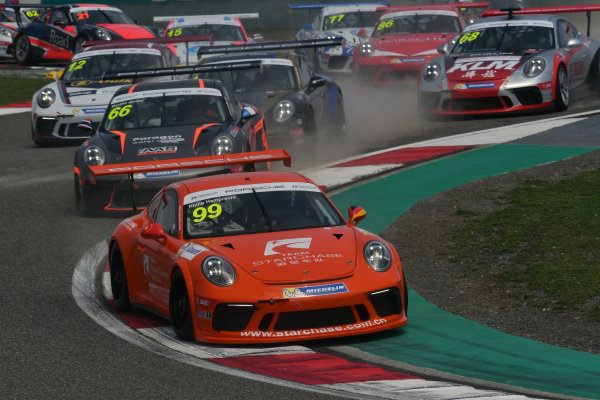 Philip Hamprecht (GER) Team StarChase leads at the start of the race at Porsche Carrera Cup Asia, Shanghai, China, 13-15 April 2018.