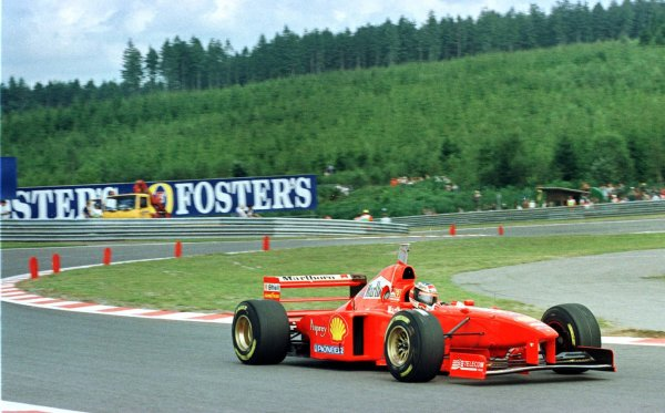 1997 Belgian Grand Prix.Spa-Francorchamps, Belgium.22-24 August 1997.Michael Schumacher (Ferrari F310B) 1st position.World Copyright - Coates/LAT Photographic