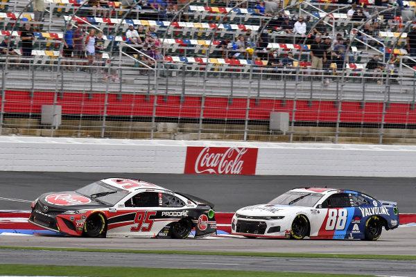#95: Christopher Bell, Leavine Family Racing, Toyota Camry Rheem, #88: Alex Bowman, Hendrick Motorsports, Chevrolet Camaro Valvoline