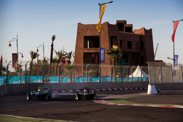 2016/2017 FIA Formula E Championship. Marrakesh ePrix, Circuit International Automobile Moulay El Hassan, Marrakesh, Morocco. Nelson Piquet (BRA), NextEV NIO, Spark-NEXTEV, NEXTEV TCR Formula 002 & Jean-Eric Vergne (FRA), Techeetah, Spark-Renault, Renault Z.E 16.  Saturday 12 November 2016. Photo: Sam Bloxham/LAT/Formula E ref: Digital Image _SBB7475