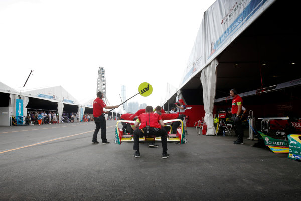 FIA Formula E Hong Kong e-Prix. The Race. Lucas Di Grassi (BRA), ABT Schaeffler Audi Sport, Spark-Abt Sportsline, ABT Schaeffler FE02 pits during the race to replace his frong wing. Hong Kong Harbour, Hong Kong, Asia. Sunday 9 October 2016. Photo: Adam Warner / FE / LAT ref: Digital Image _L5R8169