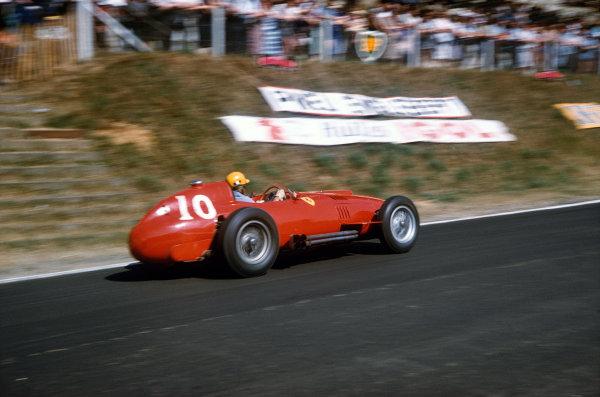 Rouen-Les-Essarts, France. 5-7 July 1957. Luigi Musso (Lancia-Ferrari D50 801) 2nd position. Ref-57 FRA 17. World Copyright - LAT Photographic
