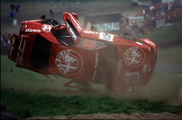 Knockhill, Scotland. 31st July 1994. Gabriele Tarquini (Alfa Romeo 155 TS) rolls. Picture 6 in a sequence of 6. World Copyright: Bloxham/LAT Photographic