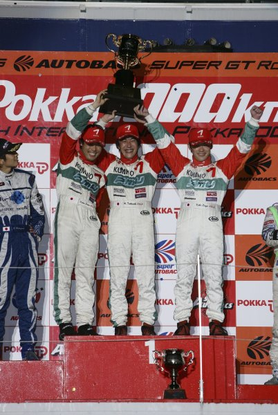 2006 Japanese Super GT ChampionshipSuzuka 1000km, Japan. 20th August 2006GT300 podium - winners Hironori Takeuchi / Koki Saga / Keita Sawa (TAIYO OIL KUMHO CELICA) 1st position.Photo: Yasushi Ishihara / LAT Photographicref: Digital Image 2006SGT_R6_013