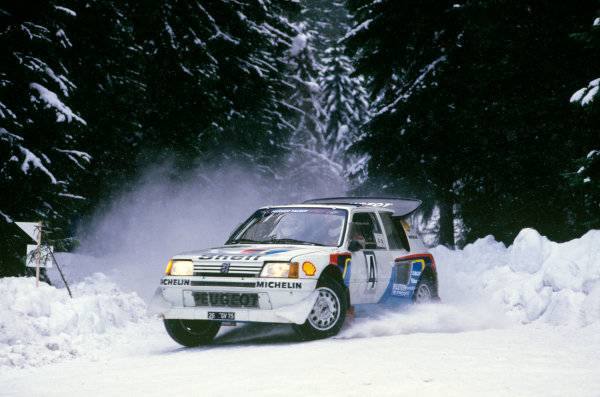 Swedish Rally, Sweden. 14th - 16th February 1986.Juha Kankkunen/Juha Piironen (Peugeot 205 T16 E2), 1st position, action. World Copyright: LAT Photographic.Ref: Colour Transparency 86RALLY02.