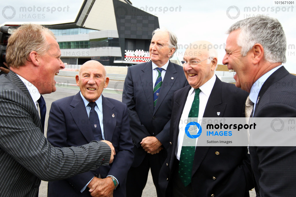(L to R): Johnny Herbert (GBR), Sir Stirling Moss (GBR), John Watson (GBR), Murray Walker (GBR) and Derek Warwick (GBR).