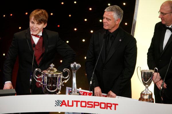 2013 Autosport Awards. Grosvenor House Hotel, Park Lane, London. Sunday 1st December 2013. Matt Parry, wins 2013 McLaren Autosport BRDC Award World Copyright: Glenn Dunbar/LAT Photographic. ref: Digital Image _89P7585