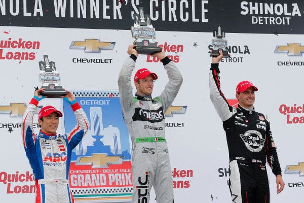 29-31 May, 2015, Detroit, Michigan USA Sebastien Bourdais, Takuma Sato and Graham Rahal podium ?2015, Perry Nelson LAT Photo USA