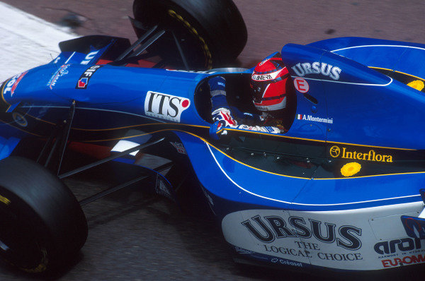 Monte Carlo, Monaco.25-28 May 1995.Andrea Montermini (Pacific PR02 Ford). He was disqualified after he was late for a stop and go penalty.Ref-95 MON 67.World Copyright - LAT Photographic