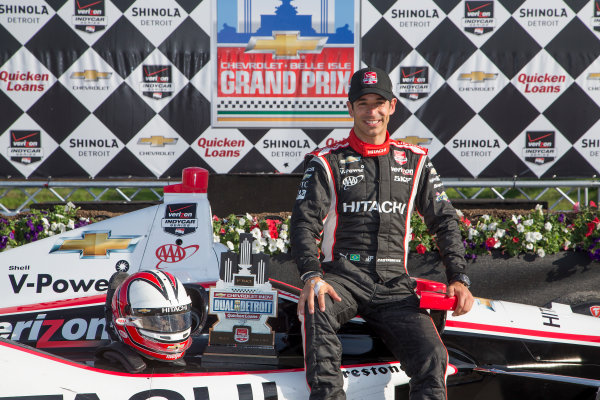 1 June, 2014, Detroit, Michigan, USA Winner Helio Castroneves in victory lane ©2014, Michael L. Levitt LAT Photo USA
