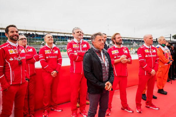 2017 GP3 Series Round 3.  Silverstone, Northamptonshire, UK. Sunday 16 July 2017. Jean Alesi, Maurizio Arrivabene, Ferrari, Jock Clear and other Ferrari engineers at the podium. Photo: Zak Mauger/GP3 Series Media Service. ref: Digital Image _54I5948