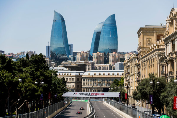 2017 FIA Formula 2 Round 4. Baku City Circuit, Baku, Azerbaijan. Friday 23 June 2017. Nobuharu Matsushita (JPN, ART Grand Prix), Ralph Boschung (SUI, Campos Racing)  Photo: Zak Mauger/FIA Formula 2. ref: Digital Image _56I6663
