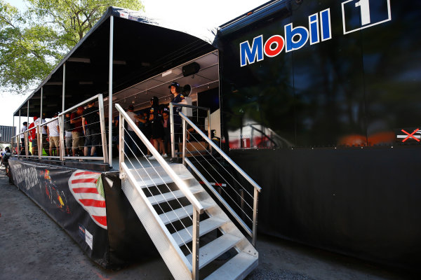 Circuit Gilles Villeneuve, Montreal, Canada. Sunday 11 June 2017. A Red Bull and Mobil fan stand. World Copyright: Andy Hone/LAT Images ref: Digital Image _ONZ4836