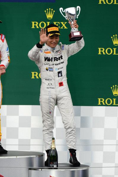 Third placed Nobuharu Matsushita (JPN) ART Grand Prix celebrates on the podium with the trophy at GP2 Series, Rd4, Spielberg, Austria, 19-21 June 2015.