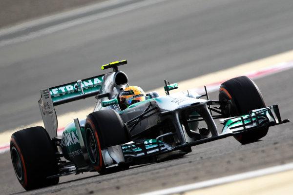 Bahrain International Circuit, Sakhir, Bahrain Sunday 21st April 2013 Lewis Hamilton, Mercedes W04.  World Copyright: Andy Hone/LAT Photographic ref: Digital Image HONY1435