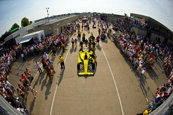 27 May, 2012, Indianapolis, Indiana, USAThe car of Josef Newgarden (#67) is pushed to pit lane.(c)2012, F. Peirce WilliamsLAT Photo USA