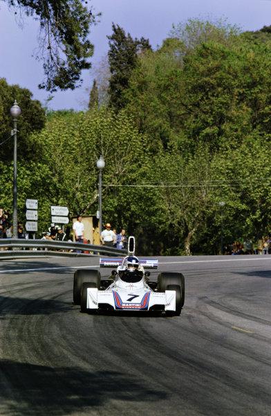 1975 Spanish Grand Prix.  Montjuich Park, Barcelona, Spain. 25-27th April 1975.  Carlos Reutemann, Brabham BT44B Ford.  Ref: 75ESP12. World Copyright: LAT Photographic
