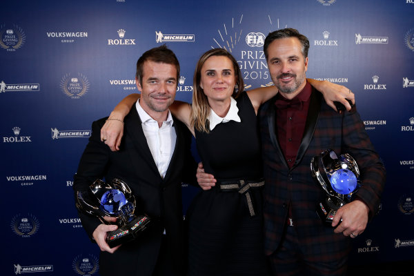 2015 FIA Prize Giving Paris, France Friday 4th December 2015 Sebastien Loeb with Yvan Muller and Marie Pierre Rossi, portrait  Photo: Copyright Free FOR EDITORIAL USE ONLY. Mandatory Credit: FIA / Jean Michel Le Meur  / DPPI ref: _ML23421
