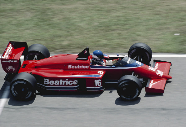1986 Brazilian Grand Prix. Jacarepagua, Rio de Janeiro, Brazil. 21-23 March 1986. Patrick Tambay (Team Haas/Lola THL1 Hart).Ref-86 BRA 37. World Copyright - LAT Photographic