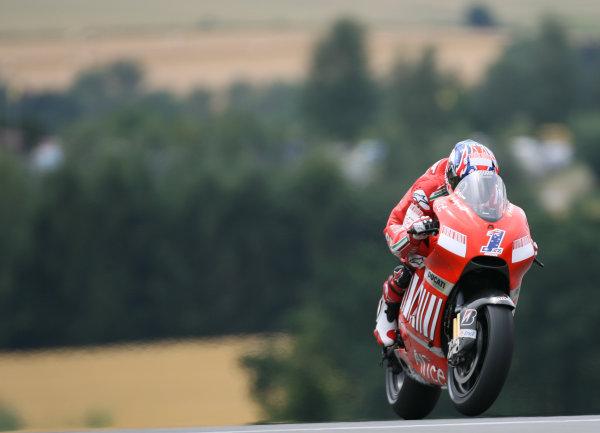 Sachsenring, Hohenstein-Ernstthal, Germany.12th July 2008.MotoGP Qualifying.Casey Stoner Marlboro Ducati Team.World Copyright: Martin Heath / LAT Photographicref: Digital Image BPI_Moto 5d6s