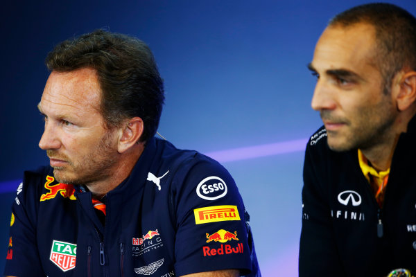Spa Francorchamps, Belgium.  Friday 25 August 2017.Christian Horner, Team Principal, Red Bull Racing, and Cyril Abiteboul, Managing Director, Renault Sport F1, in the Team Principals Press Conference. World Copyright: Andy Hone/LAT Images  ref: Digital Image _ONZ9424