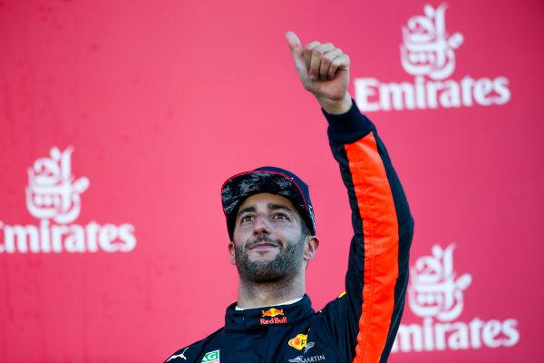 Suzuka Circuit, Japan. Sunday 8 October 2017. Daniel Ricciardo, Red Bull Racing, 3rd Position, on the podium. World Copyright: Charles Coates/LAT Images  ref: Digital Image DJ5R1436