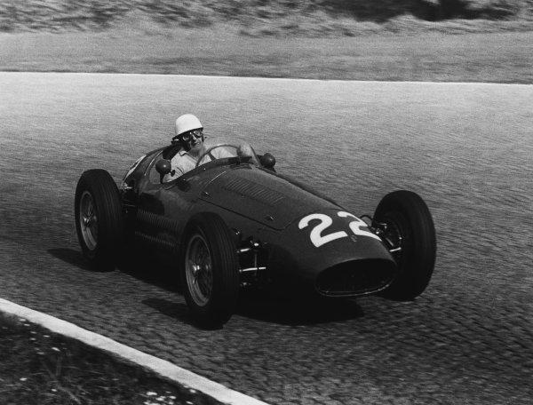 Monza, Italy. 5th September 1954.Luigi Villoresi (Maserati 250F), retired, action. World Copyright: LAT Photographic.Ref:  B/W Print.