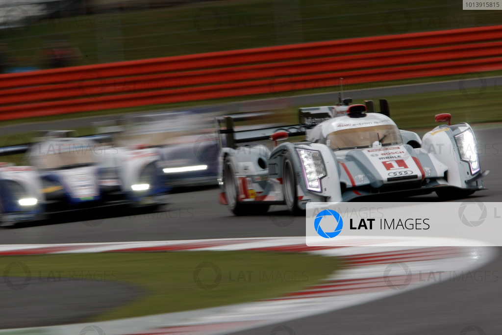 2013 FIA WEC Championship, Silverstone, Northamptonshire. 12th - 14th April 2013. Andre Lotterer / Benoit Treluyer / Marcel Fassler Audi R18 e-tron quattro World Copyright: Ebrey / LAT Photographic.