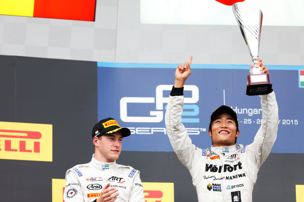 2015 GP2 Series Round 6.  Hungaroring, Budapest, Hungary. Sunday 26 July 2015. Nobuharu Matsushita (JPN, ART Grand Prix) & Stoffel Vandoorne (BEL, ART Grand Prix)  World Copyright: Alastair Staley/LAT Photographic. ref: Digital Image _79P9223