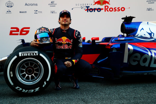 Toro Rosso STR12 Formula 1 Launch. Barcelona, Spain  Sunday 26 February 2017. Carlos Sainz Jr, Toro Rosso.  World Copyright: Dunbar/LAT Images Ref: _X4I9801