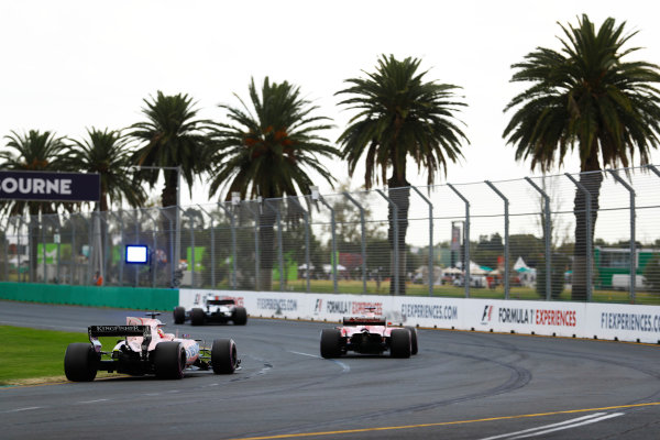 Albert Park, Melbourne, Australia. Saturday 25 March 2017. Esteban Ocon, Force India VJM10 Mercedes, follows a Ferrari and a Williams. World Copyright: Steven Tee/LAT Images ref: Digital Image _O3I2188